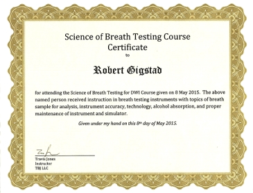 Science of Breath Testing Course Certificate